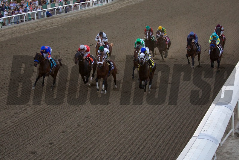 The horses came down the stretch for the first time in the Breeders' Cup Classic (G. I). Mucho Macho Man (center, green cap) won the race. Photo by Crawford Ifland.
