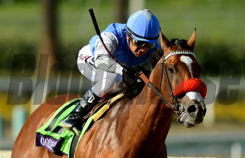 Jockey Rafael Bejarano leads Goldencents, right, around the final turn to win the Breeders Cup Dirt Mile at Santa Anita. Photo by Wally Skalij