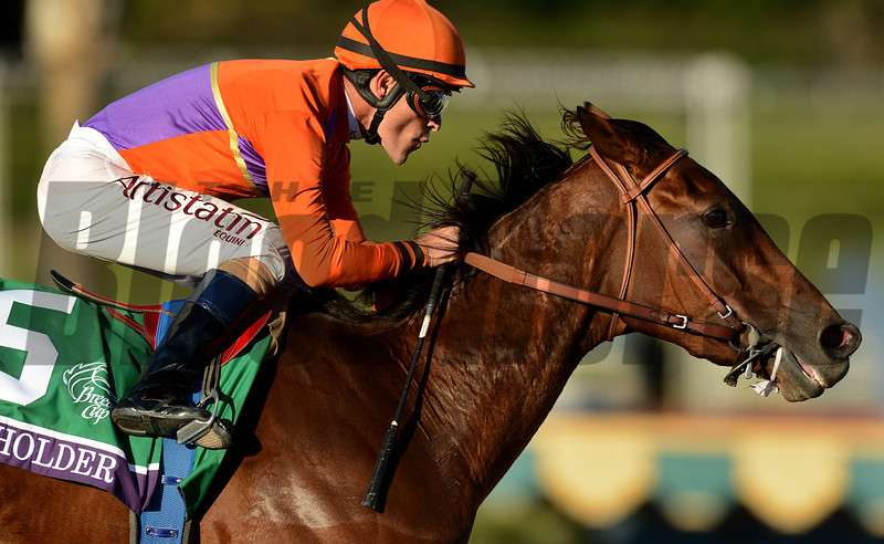 Jockey Gary Stevens and Beholder pull away as they turn into the stretch to win the Breeders Cup  Distaff at Santa Anita. Photo by Wally Skalij