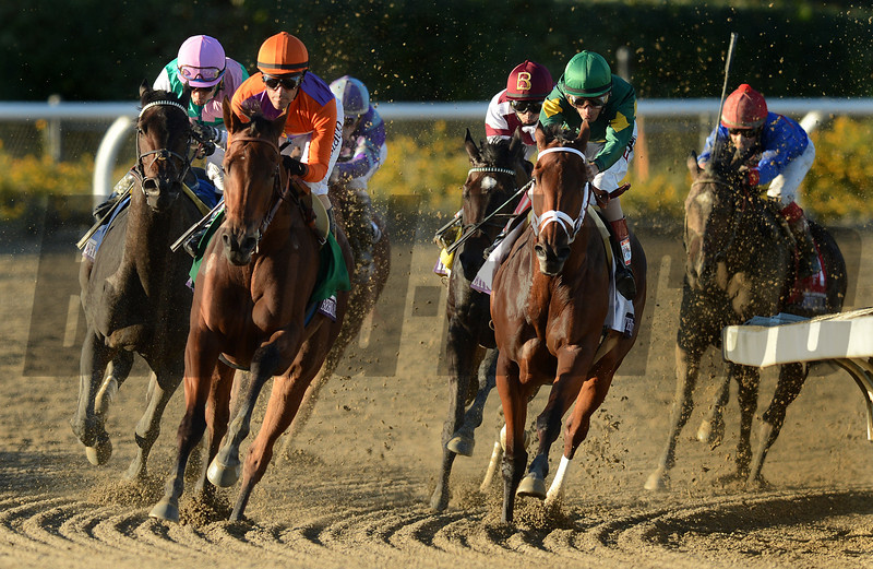 Jockey Gary Stevens and Beholder, second from left, pull away as they turn into the stretch to win the Breeders Cup  Distaff at Santa Anita. Photo by Wally Skalij