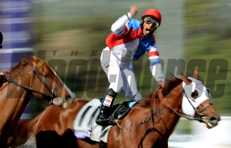 Jockey Rajiv Maragh celebrates aboard Groupie Doll to win the Breeders Cup Filly & Mare Sprint at Santa Anita. Photo by Wally Skalij