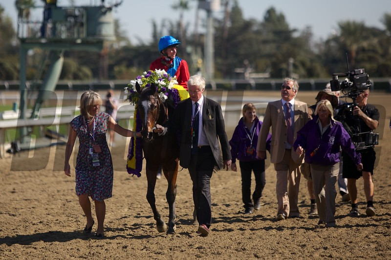 Dank, with Ryan Moore up, won the Filly & Mare Turf (G. I). Photo by Crawford Ifland