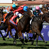 Dank with jockey Ryan Moore out duels Emollient with jockey Mike Smith to win the Breeders' Cup Filly & Mare Turf at Santa Anita Park in Arcadia, CA.  November 1, 2013.  Photo by Skip Dickstein