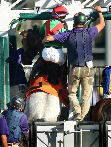 Street Sailing throws jockey Alan Garcia in the starting gate as gatekeeper Kyle Lopez helps before the start of the Breeders Cup Juvenile Fillies Turf at Santa Anita. Photo by Wally Skalij