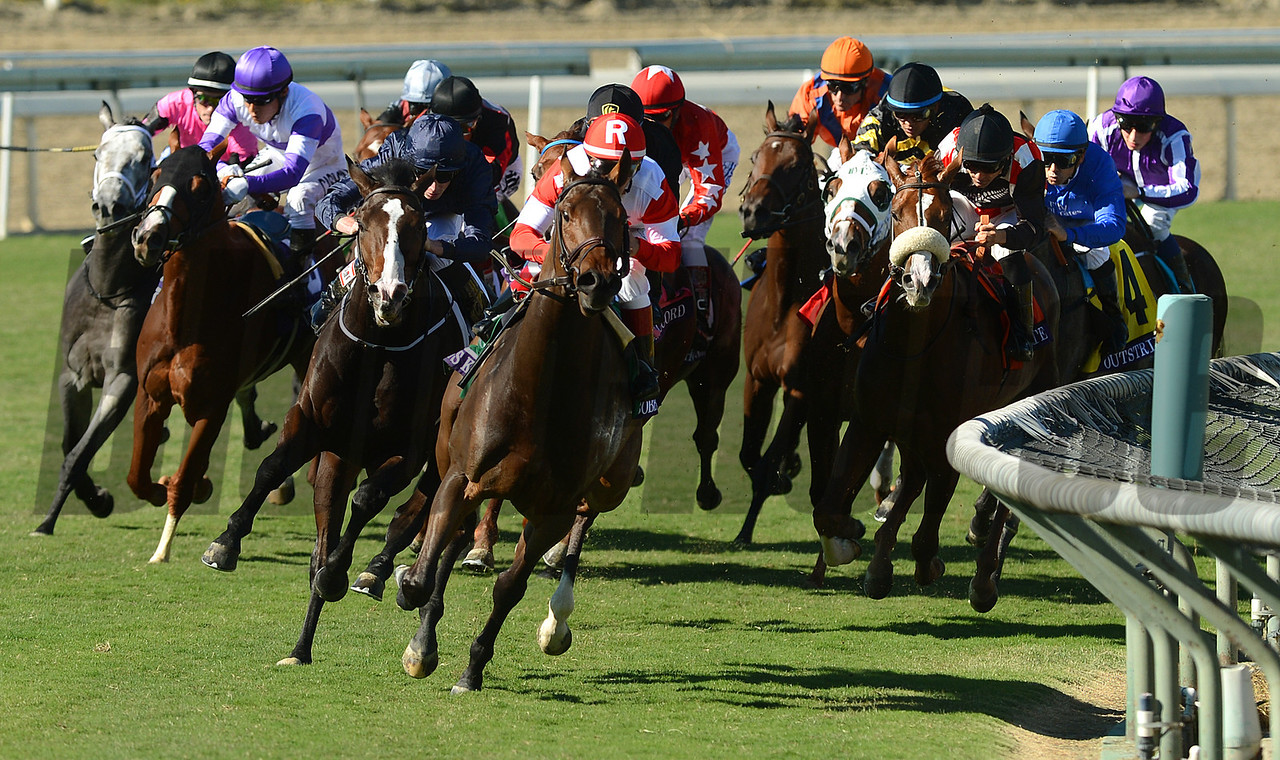 Outstrip and jockey Mike Smith, seconf from right in blue silks, comes from far back to win the Breeders Cup Juvenile Turf at Santa Anita. Photo by Wally Skalij