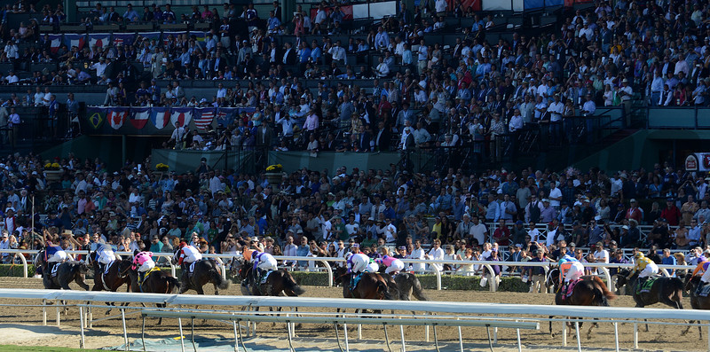 Horses rhead down the stretch in the Breeders Cup Juvenile at Santa Anita. Photo by Wally Skalij