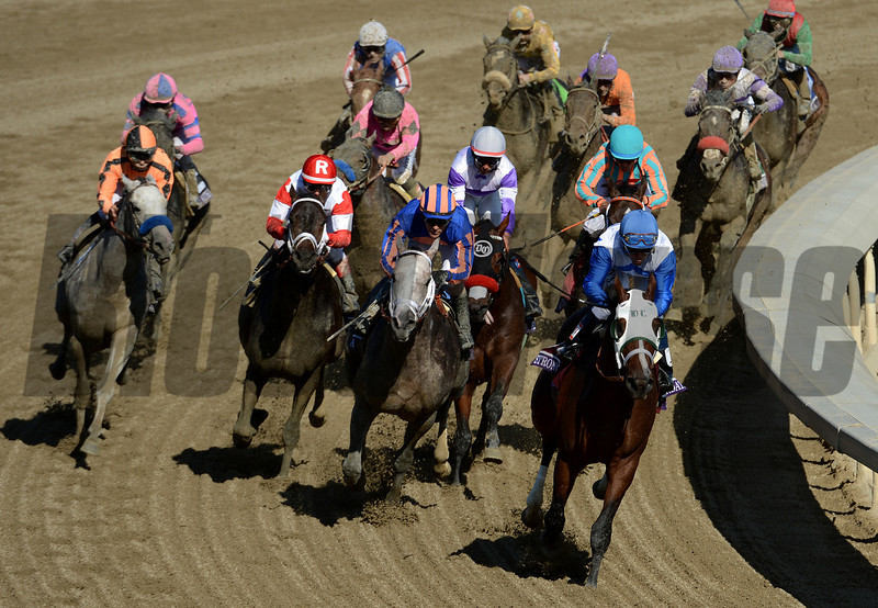 Horses round the final turn in the Breeders Cup Juvenile at Santa Anita. Photo by Wally Skalij