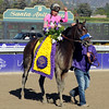 New Year's Day round the final turn in the Breeders Cup Juvenile at Santa Anita.<br /> Photo by Dave Harmon