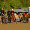 The Fugue (next to poy with red shadow roll) walks to the track with trainer John Gosden, second right. Caption:  <br /> Breeders' Cup horses and connections at Santa Anita near Acadia, California, preparing for Breeders' Cup raceways on Nov. 1 and Nov. 2, 2013.<br /> BCWorks3Jpegs_10_30_13 image<br /> Photo by Anne M. Eberhardt