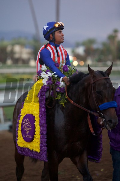 Martin Garcia celebrates winning the Breeders' Cup Classic (G. I) atop Bayern.<br /> Crawford Ifland Photo