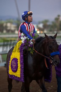 Martin Garcia celebrates winning the Breeders' Cup Classic (G. I) atop Bayern. Crawford Ifland Photo