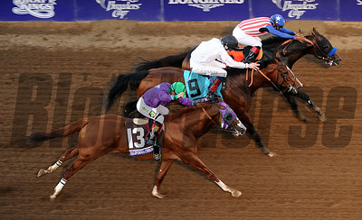 Bayern and jockey Martin Garcia beat Toast of New York with jockey Jamie Spencer and California Chrome with Victor Espinoza to win the Breeders Cup Classic Saturday at Santa Anita. Photo by Wally Skalij