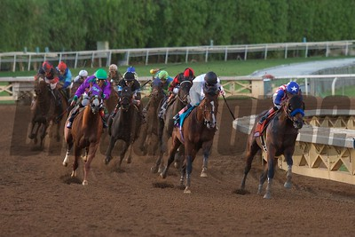 Bayern and Martin Garcia (right) lead the field around the final turn of the Breeders' Cup Classic (G. I). Crawford Ifland Photo
