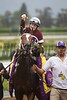 Rosie Napravnik celebrating winning the Breeders' Cup Distaff (G. I) atop Untapable.