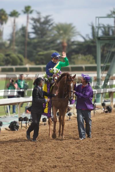 Javier Castellano celebrated winning the Breeders' Cup Filly & Mare Turf (G. I) at Santa Anita on November 1, 2014.