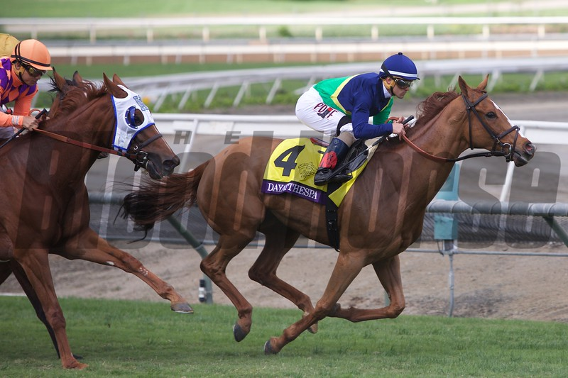 Dayatthespa, Javier Castellano up, ran wire to wire to win the Breeders' Cup Filly & Mare Turf (G. I) at Santa Anita on November 1, 2014.