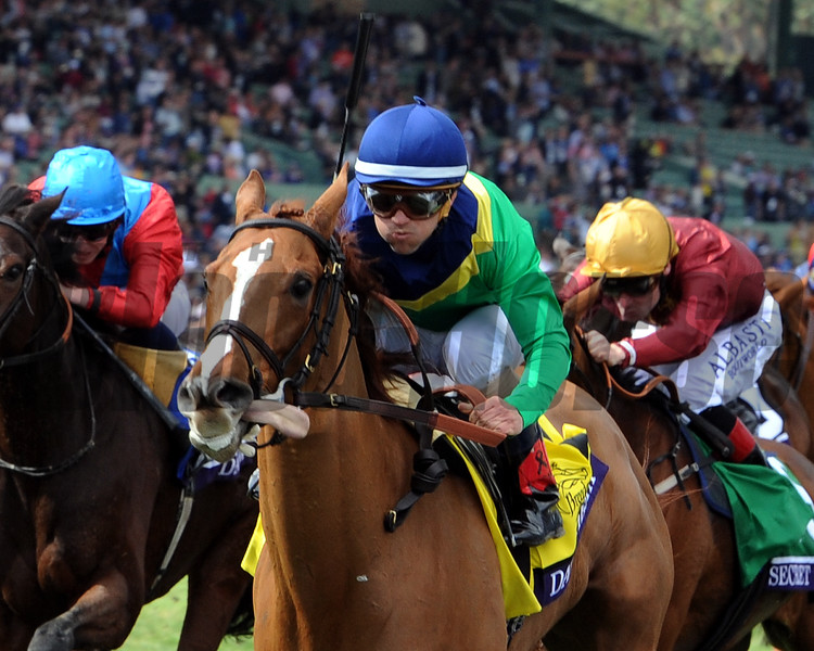 Dayatthespa wins the 2014 Breeders' Cup Filly and Mare Turf.<br /> Dave Harmon Photo