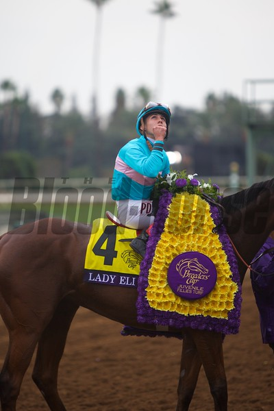 Irad Ortiz, Jr. celebrates winning the Breeders' Cup Juvenile Fillies Turf (G. I) atop Lady Eli at Santa Anita on October 31, 2014.<br /> Crawford Ifland