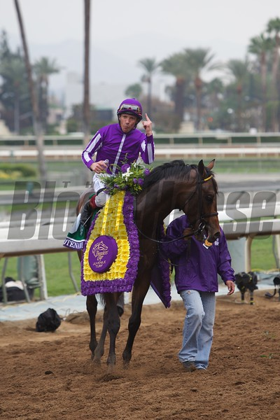 Lanfranco Dettori celebrates winning the Breeders' Cup Juvenile Turf (G. I) atop Hootenanny at Santa Anita on October 31, 2014.