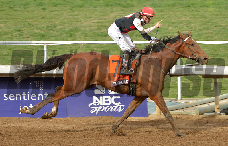 Texas Red and jockey Kent Desormeaux win the Breeders Cup Juvenile at Santa Anita Saturday. Photo by Wally Skalij