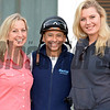 Caption: l-r, trainer Leah Gyarmati, Mike Smith, and Gyarmati's daughter Rachel Battle.<br /> Scenes at Santa Anita in preparation for Breeders' Cup  in California on Oct. 27, 2014.<br /> 1Origs10_27_14 image593<br /> Photo by Anne M. Eberhardt