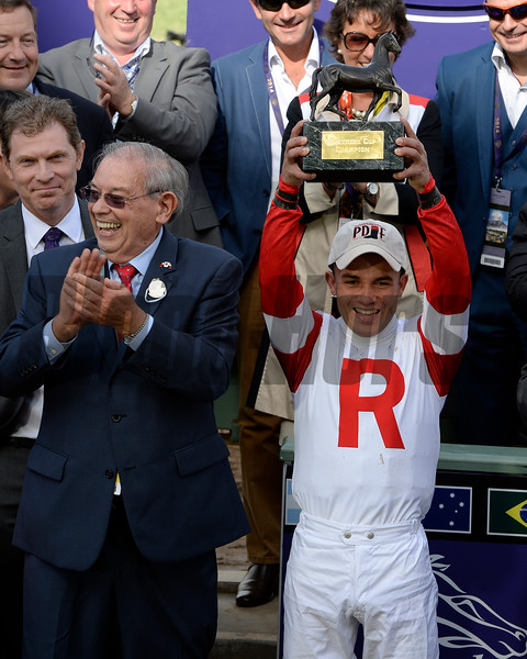 JOel Rosario celebrates Bobby's Kitten win in Turf Sprint