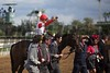 Joel Rosario celebrated winning the Breeders' Cup Turf Sprint (G. I) atop Bobby's Kitchen.