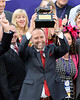 Chad Brown celebrates Bobby's Kitten win in Turf Sprint