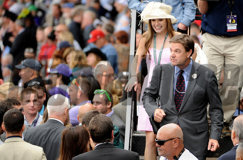 The winning connections for Main Sequence make there way to the winners circle after winning the BreedersCup Turf at Santa Anita Saturday. Photo by Wally Skalij