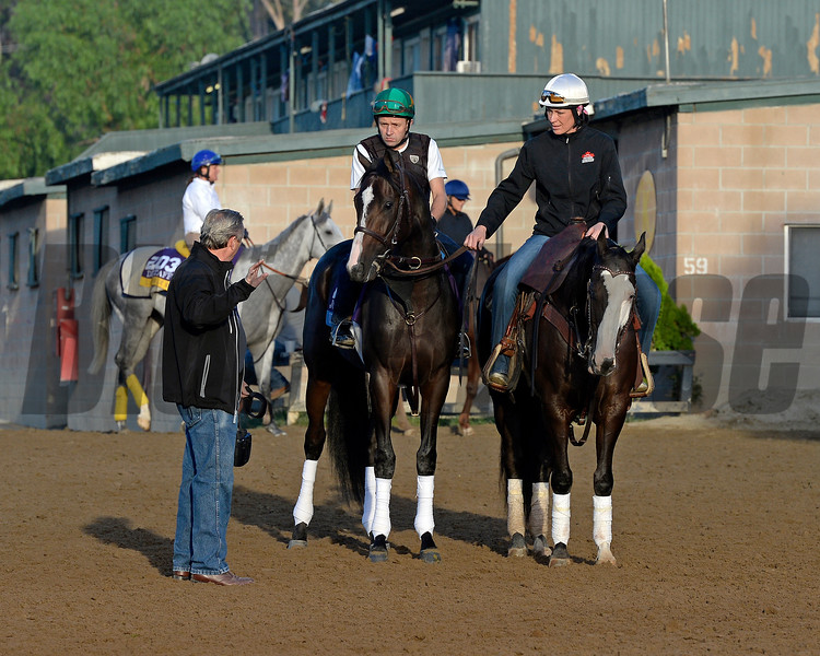 Caption:  Trainer Rick Violette with Upstart before going on track. <br /> Scenes at Santa Anita  on Oct. 30, 2014, in preparation for Breeders' Cup  in California.<br /> 1Origs10_30_14 image988<br /> Photo by Anne M. Eberhardt