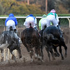 Arrogate on the outside goes in to the first turn on the way to the victory in the Breeders' Cup Classic at Santa Anita Park Nov. 5, 2016 in Arcadia, California. Photo by Skip Dickstein