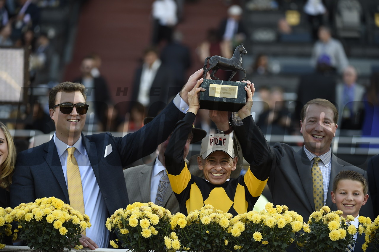 Mike Smith and connections celebrate winning the Filly Mare Sprint (gr. I) atop Finest City at Santa Anita on Nov. 5, 2016, in Arcadia, California.