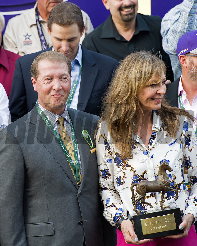 Tyler Seltzer and Allison Janney presenter.<br /> Finest City and Mike Smith win the Filly Mare Sprint (gr. I) at Santa Anita on Nov. 5, 2016, in Arcadia, California.