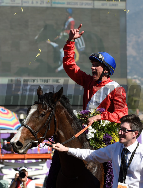Queen's Trust, with Lefranco Dettori up wins the Filly Mare Turf (gr. I) at Santa Anita on Nov. 5, 2016, in Arcadia, California.