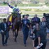 New Money Honey, with Javier Castellano aboard wins the Juvenile Fillies Turf (gr. I) at Santa Anita on Nov. 4, 2016, in Arcadia, California.