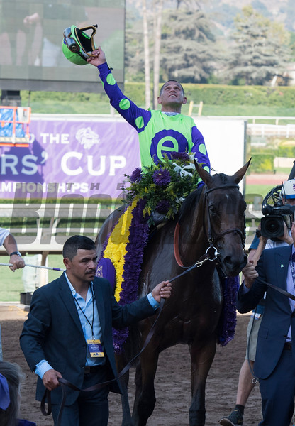 Javier Castellano celebrates after winning the Juvenile Fillies Turf (gr. I) at Santa Anita on Nov. 4, 2016, in Arcadia, California.