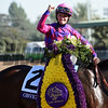 Flavien Prat celebrates winning the Turf Sprint (gr. I) atop Obviously at Santa Anita on Nov. 5, 2016, in Arcadia, California.