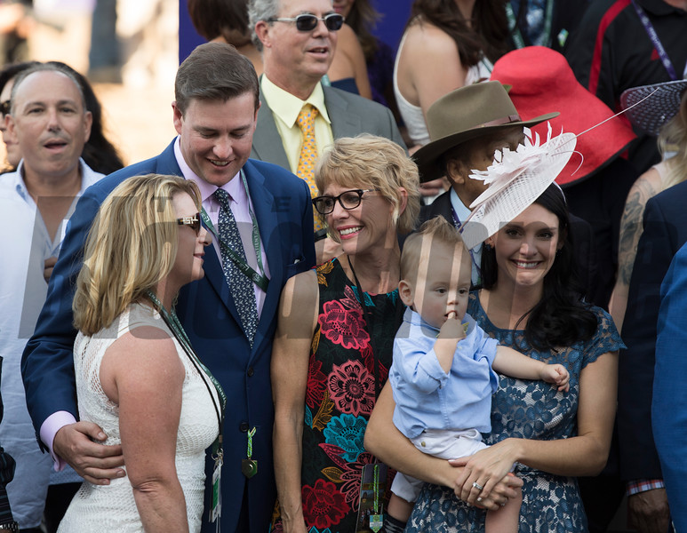 Connections of Obviously, with Flavien Prat up celebrate after winning the Turf Sprint (gr. I) at Santa Anita on Nov. 5, 2016, in Arcadia, California.