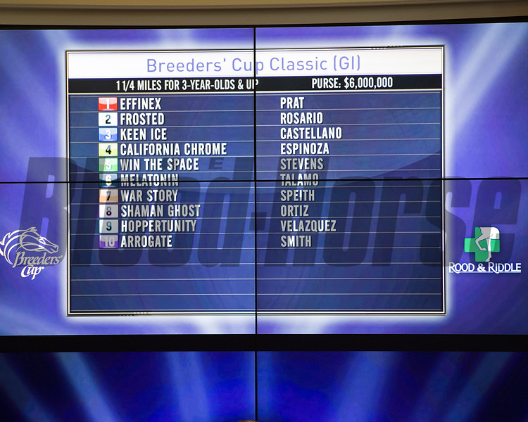 Draw for Distaff and Classic<br /> Works at Santa Anita in preparation for 2016 Breeders' Cup on Oct. 31, 2016, in Arcadia, CA.