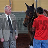 Richard Mandella with Beholder Schooling at Santa Anita.<br /> Works at Santa Anita in preparation for 2016 Breeders' Cup on Oct. 30, 2016, in Arcadia, CA.