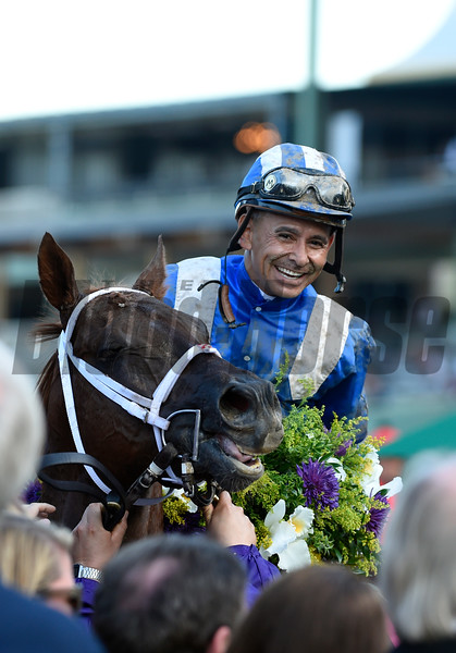 Mike Smith Celebrates after winning the Las Vegas Dirt Mile atop Tamarkuzat Santa Anita on Nov. 4, 2016, in Arcadia, California.