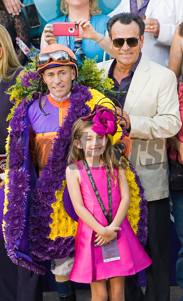 Maddie and Gary Stevens with one of the Felds.<br /> Beholder, with Gary Stevens up, wins the Longines Distaff (gr. I) at Santa Anita on Nov. 4, 2016, in Arcadia, California.