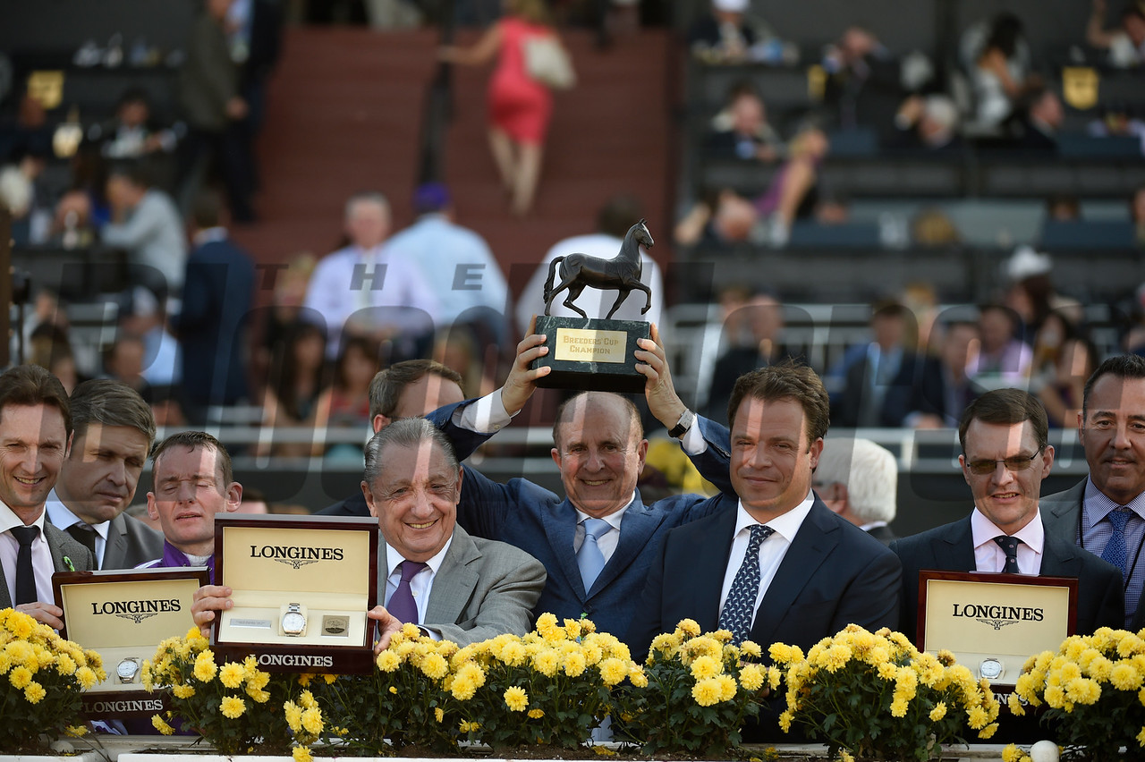 Connections of Highland Reel celebrate winning the Longines Turf (gr. I) at Santa Anita on Nov. 5, 2016, in Arcadia, California.
