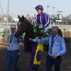 Seamus Heffernan celebrates winning the Longines Turf (gr. I) atop Highland Reel at Santa Anita on Nov. 5, 2016, in Arcadia, California.