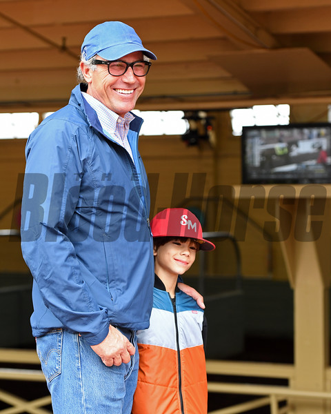 Schooling at Santa Anita. Tim Yakteen with son. <br /> Works at Santa Anita in preparation for 2016 Breeders' Cup on Oct. 30, 2016, in Arcadia, CA.