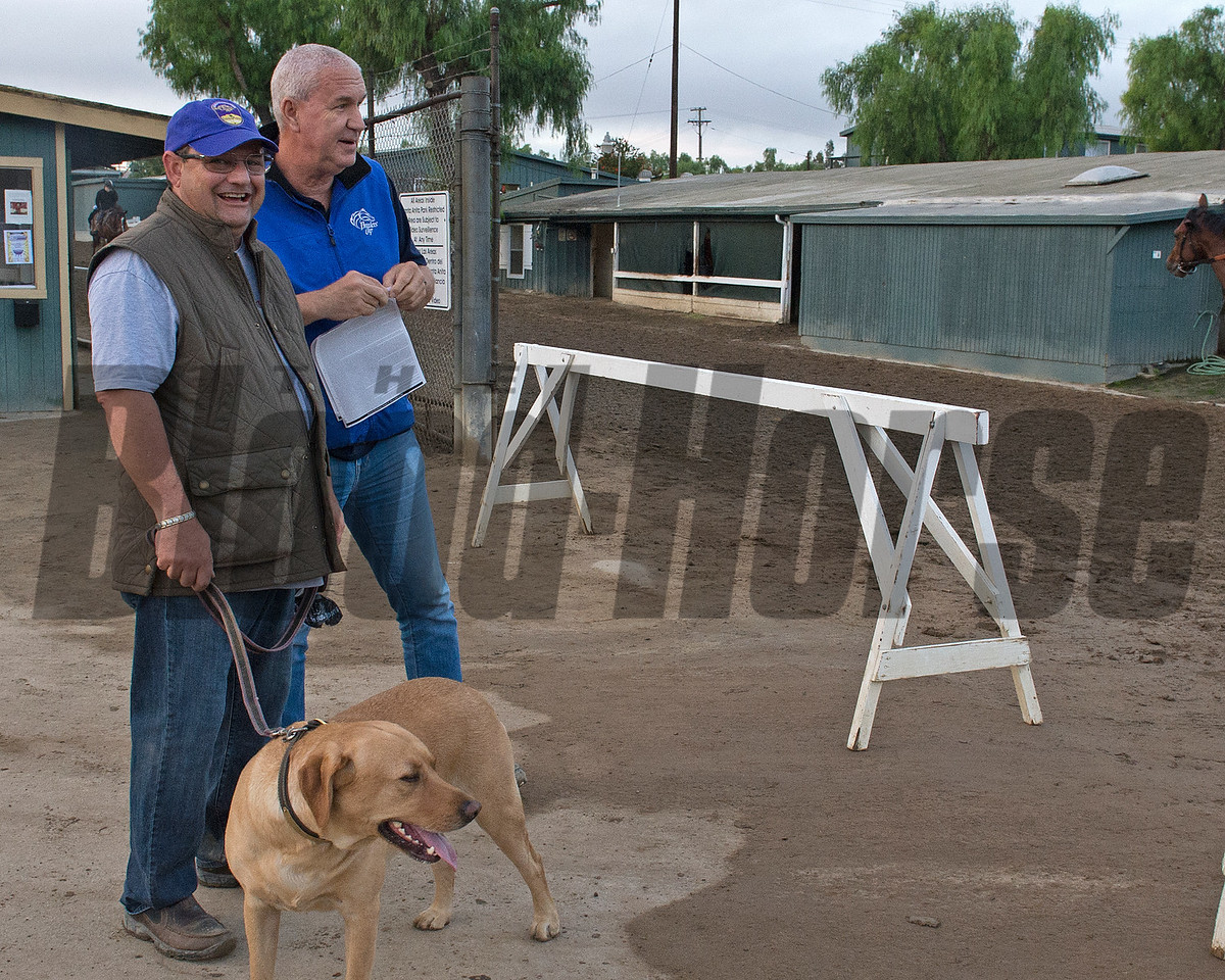 Alan Sherman with Jasper at gap<br /> Works at Santa Anita in preparation for 2016 Breeders' Cup on Oct. 31, 2016, in Arcadia, CA.