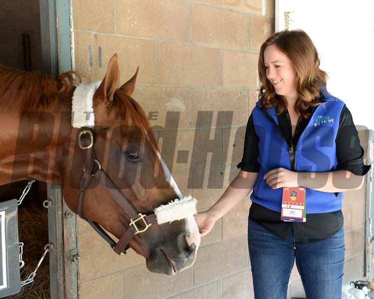 California Chrome with Claire Novak<br /> Morning after the Breeders' Cup Classic<br /> 2016 Breeders' Cup on Nov. 6, 2016, in Arcadia, CA.