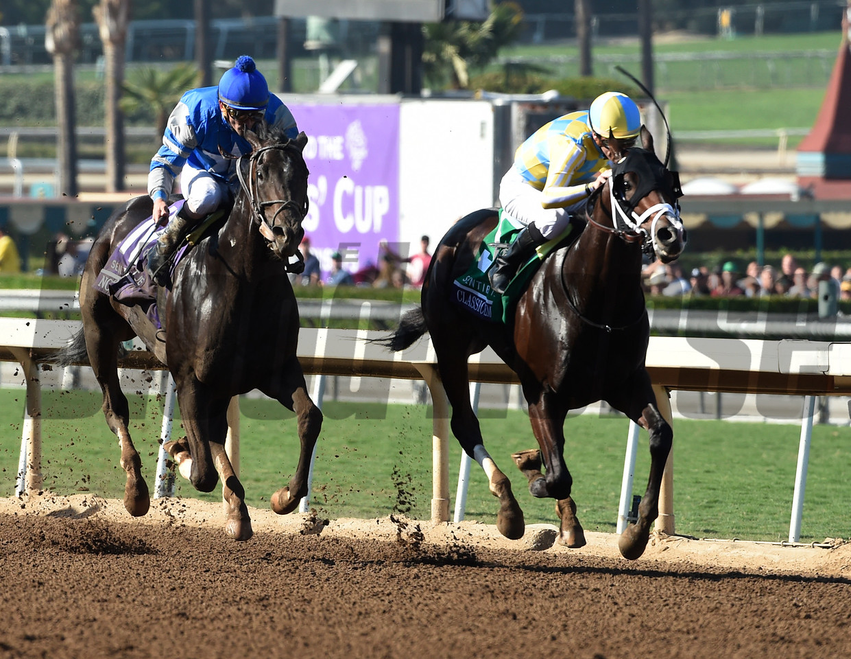 Classic Empire and Julien Leparoux win the Sentient Jet Juvenile (gr. I) at Santa Anita on Nov. 5, 2016, in Arcadia, California.