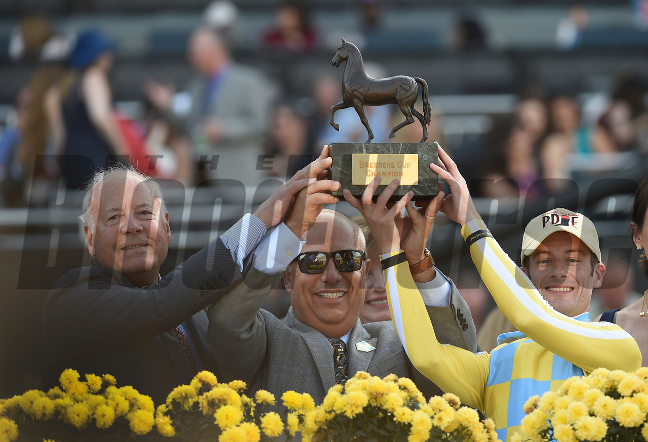 Julien Leparoux and connections of Classic Empire celebrate after winning the Sentient Jet Juvenile (gr. I) at Santa Anita on Nov. 5, 2016, in Arcadia, California.
