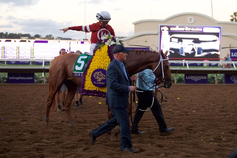 Florent Geroux celebrates after winning the Breeders Cup Classic atop Gun Runner on November 4, 2017.Photo by Anne Eberhardt.